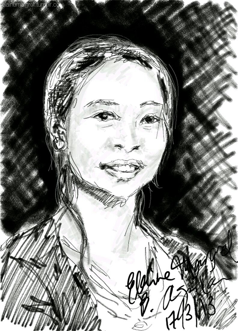 A 20-minute live sketch of my mom's friend, drawn on my phone's S Note app. (Samsung Galaxy Note II)