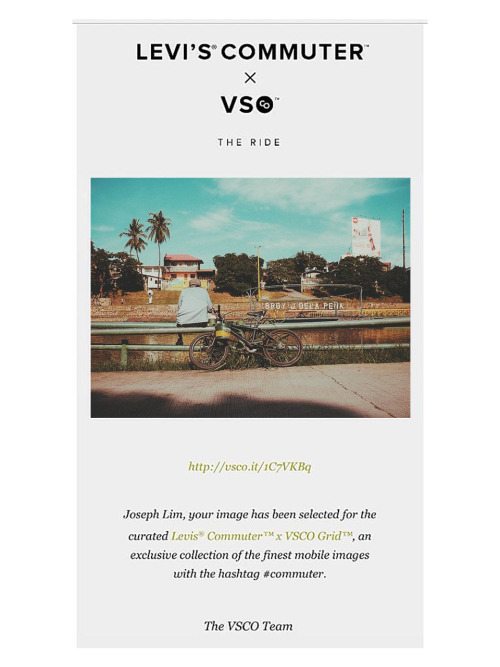 My 4th featured photo on VSCO. This time for the curated Levis Commuter VSCO Grid. Whether it be big or small, I still get excited about this type of features. Thanks VSCo Team! #happy