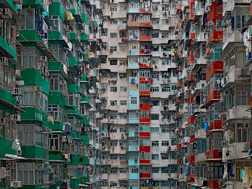 beckie0:  ridingwithstrangers:  Architectural Density in Hong Kong With seven million people, Hong Kong is the 4th most densely populated places in the world. However, plain numbers never tell the full story. In his 'Architecture of Density' photo series, German photographer Michael Wolf explores the jaw-dropping urban landscapes of Hong Kong. He rids his photographs of any context, removing any sky or horizon line from the frame and flattening the space until it becomes a relentless abstraction of urban expansion, with no escape for the viewer's eye. Infinite and haunting. Editor's Note: Co-signed.  This terrifies me.