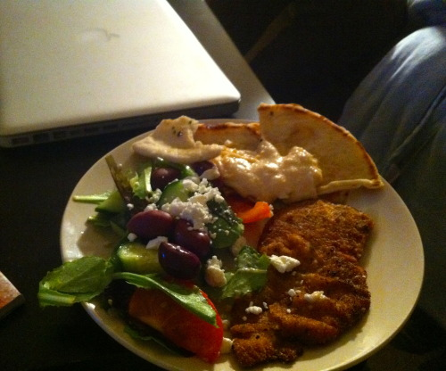Things that co-founders cook up…Greek Salad and breaded chicken cutlet Bon appetit Bon Skimm!