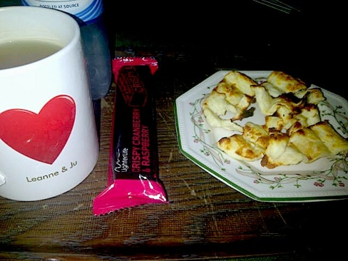 Gave in to my cravings.Mint tea, cranberry bar and grilled Halloumi :D