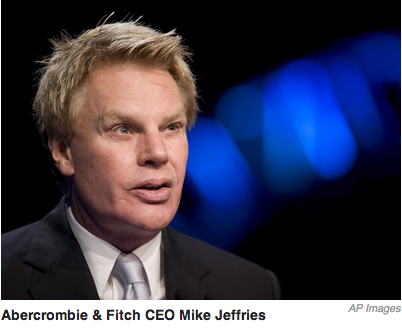 Did the AP pick this image of A-n-F CEO Mike Jeffries on purpose?  Cause if this dude is saying that we only sell clothes to young good looking people…. must mean that this guy doesn't wear his own company's clothes!  Yikes…  looks like the dude got some eye work done by a blind plastic surgeon.