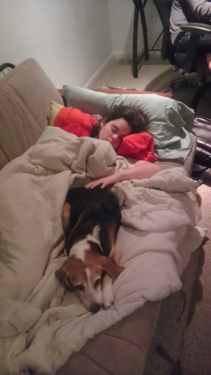 just16characters:  And this is Ryan, asleep with Noel. (Baxters dog)  DEREK! WHAT THE HELL