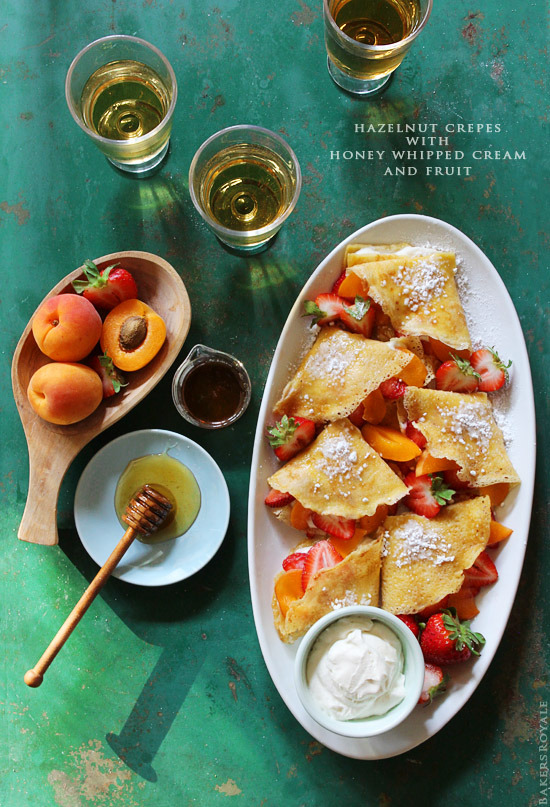 gastrogirl:  hazelnut crepes with honey whipped cream and fruit.