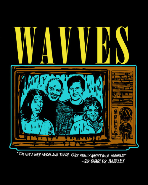 nickgazin:  This is a shirt that I designed that Wavves printed for the tour that they are either on now or just finished. This is a very Tumblr oriented shirt. I was told that these are selling really well and that they've already had to reprint them. If you can't tell, it's Charles Barkley and Nirvana from when they were on SNL together. The drawing is based on the promo they did for the episode and the text is something Barkley said during the promo.  They printed it really nicely with discharge ink so it doesn't sit on top of the shirt like plastic based inks but is really thin and doesn't change the texture of the fabric.