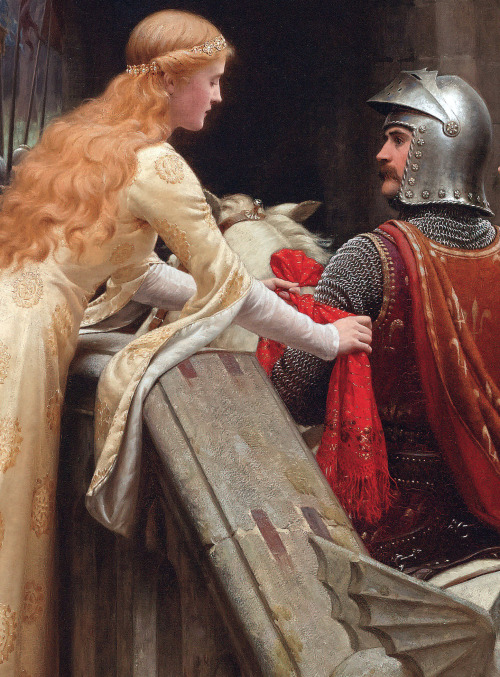 c0ssette:  God Speed! (detail) 1900.Edmund Blair-Leighton. The Knight in Shining Armor receives The Lady's Favour ♥