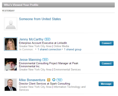 Jenny McCarthy looked at my LinkedIn profile yesterday.