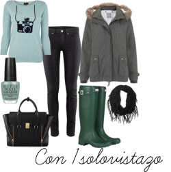 Outfit of the day 8 #ootd por con1solovistazo con tube scarvesOasis patterned sweater, $61 / Parka forro desmontable, $77 / H&M low rise jeans, $23 / Hunter foldable shoes, $120 / 3.1 Phillip Lim  satchel / Tube scarve / OPI , $18