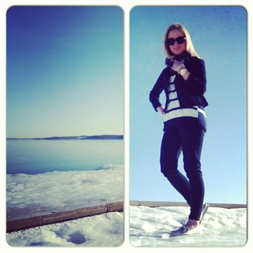 Stripes and Sperrys (at Clinch Park Marina) Sweater: Gap  Jacket: Found at Zany- Aqua Polka-Dot Scarf: Target Jeans: Gap Shoes: Sperry, Macy's
