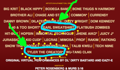 oddfuture:  Earl And Tyler Will Be Playing ROCK THE BELLS This Year! Please Come And Fucking Watch Them Jump Around! Click Photo For More Info