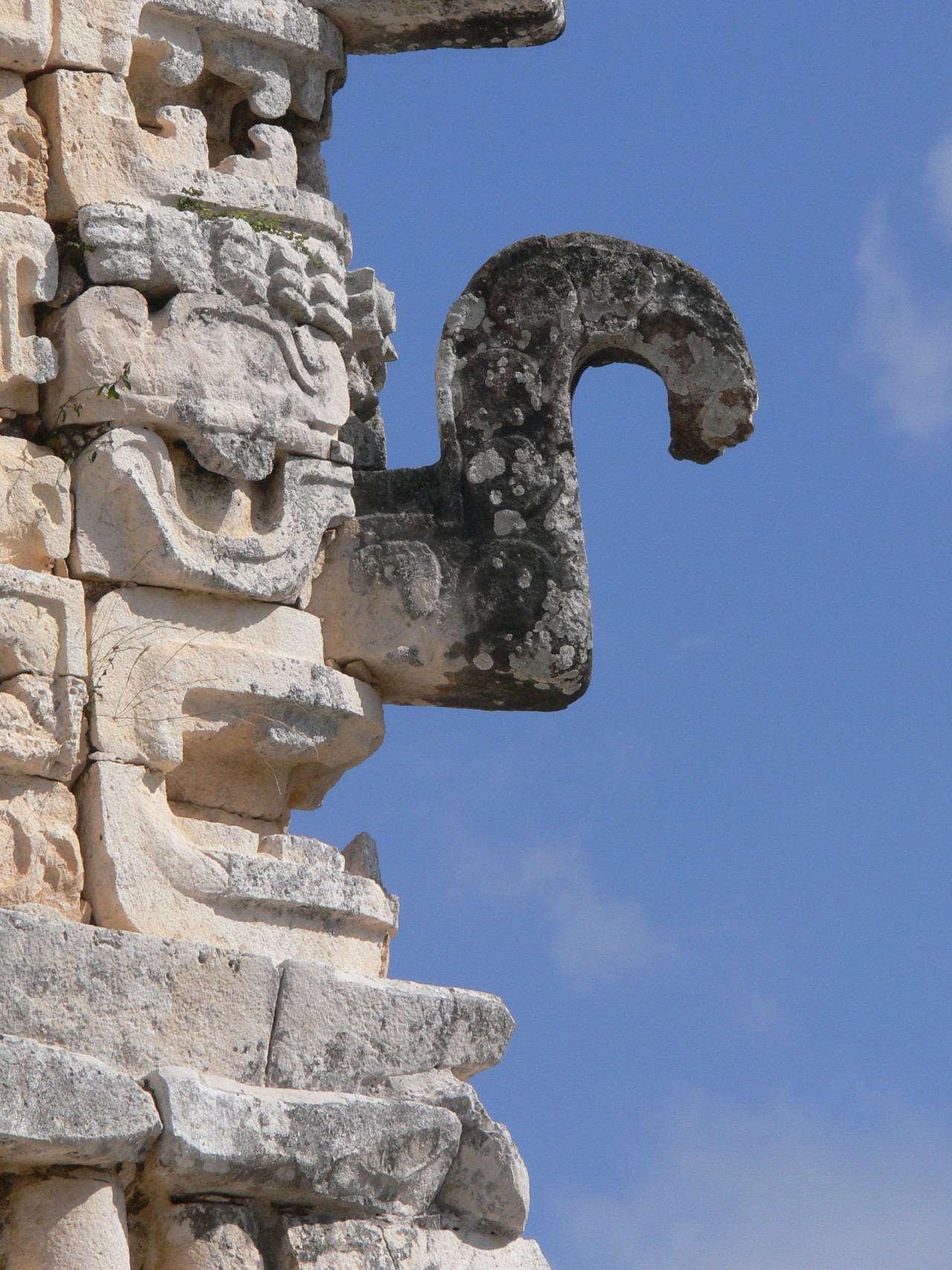 Chac (Mayan rain deity) as shown on the Eastern palace from the mayan archaeological site of Uxmal, Yucatán, Mexico. Photo courtesy & taken by Wolfgang Sauber