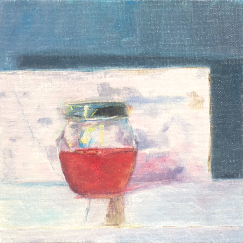red syrup, oil on canvas panel, 6 x 6 inches, 2012 Sold