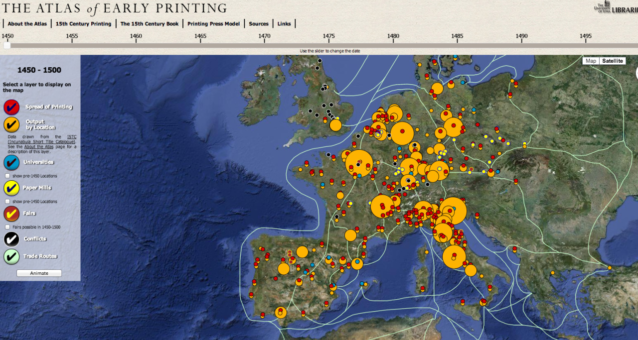 A new version of the Atlas of Early Printing was released last week. It's well worth spending some time with.