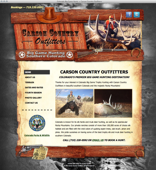 New web design for Carson Country Outfitters (http://carsoncountryoutfitters.com) This one and others will be featured on our updated portfolio soon, stay tuned.