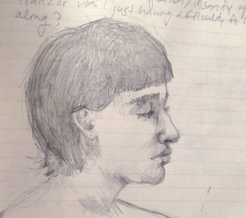 attempt at a self-portrait from memory in 20th century German Lit. my handwriting is about to fall from being barely-legible to chicken scratch. ear is weird but I shouldn't point that out