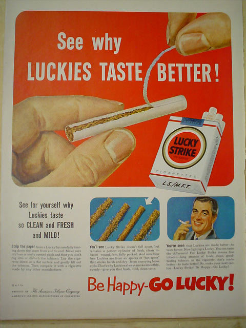 Lucky Strike ad, 1952