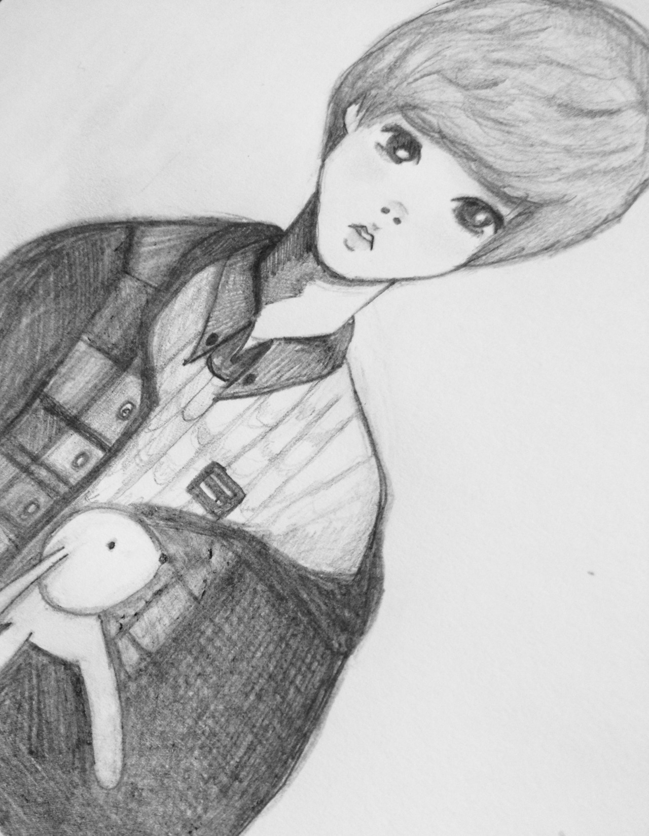 luhan drawing; airport 150113 with bunny rabbit - unfinished  ♡