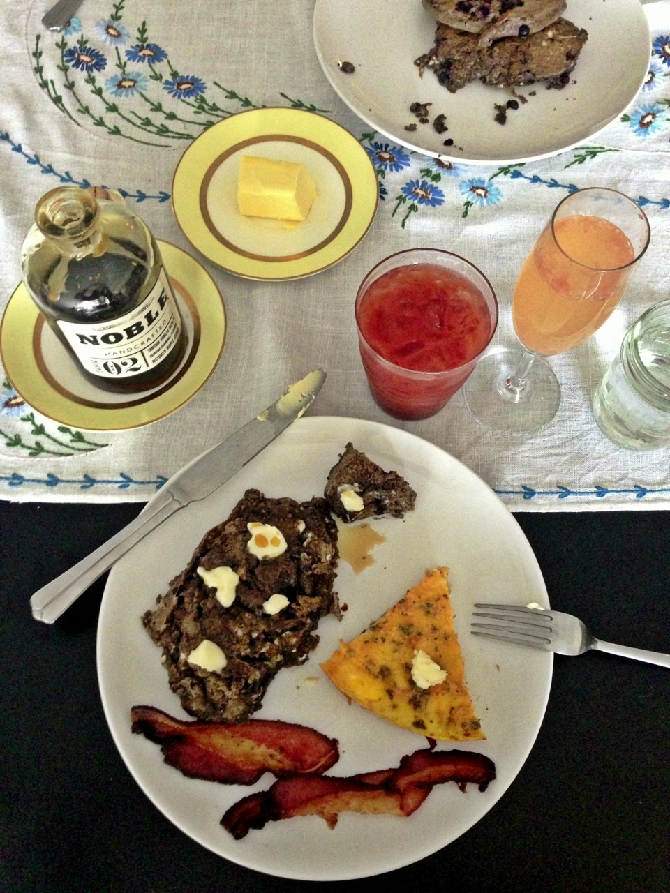 Buckwheat Blueberry Pancakes (& Noble #02 Syrup), Leek & Thyme Frittata, Rainshadow Meats Bacon Only the best for Mom!