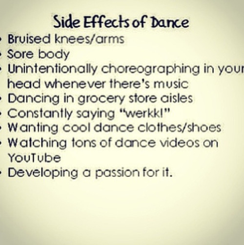 LIKE if you experience the side effects of DANCE!