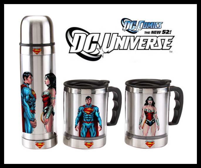 New 52 Thermos and traveling mugs Thanks to Superman x Wonder Woman for sharing.