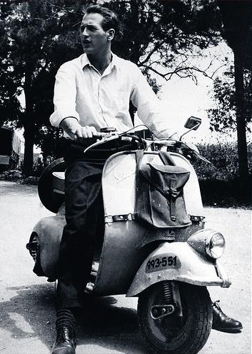 Paul Newman goes Vespa.
