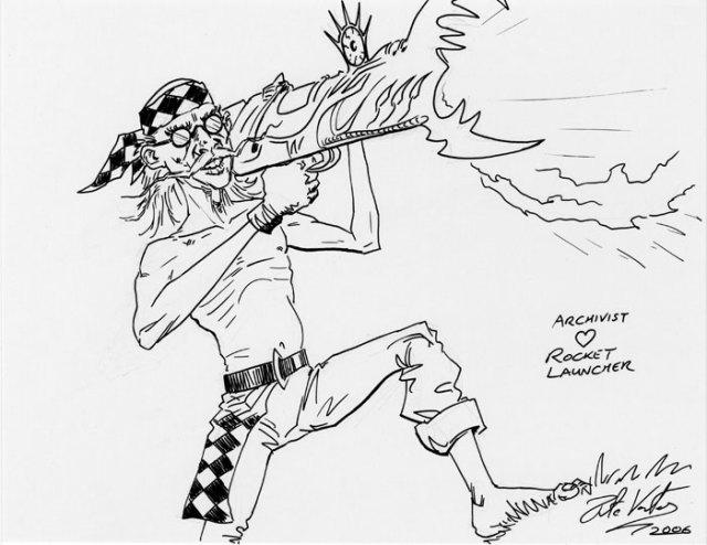 Archivist got a Rocket Launcher by Pete Venters #Magic the Gathering #Sketch#Archivist#Rocket Launcher#Pete Venters#2006#Fantasy#Art