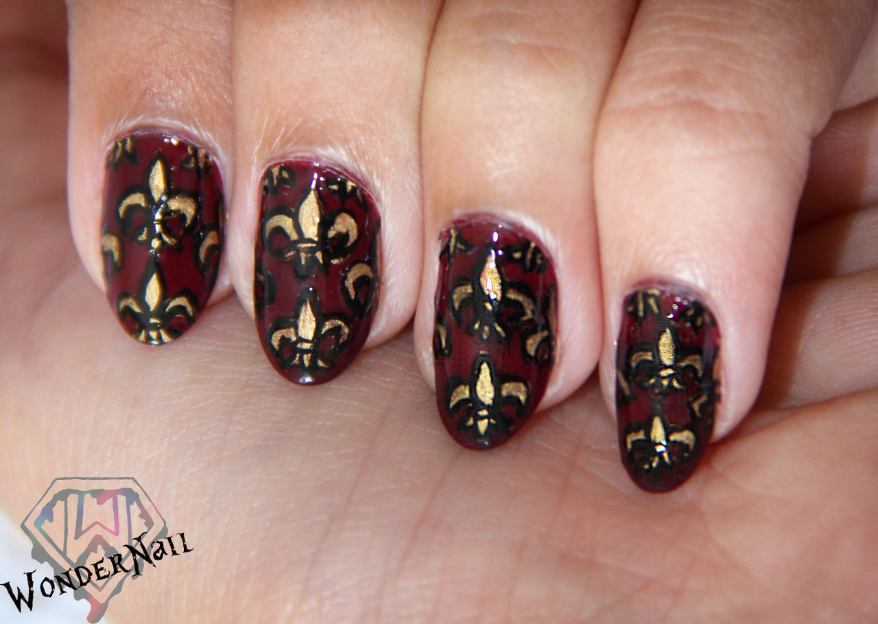 My medieval pattern. free hand!OPI Mrs. O'Leary's BBQ and Sephora by OPI Charge it!Took me 3 hours.
