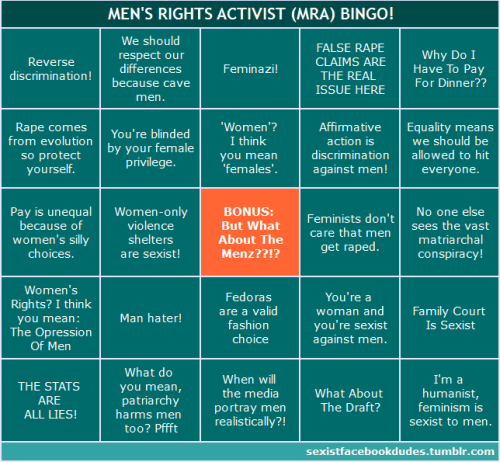 sexistfacebookdudes:  A new bingo card to go with the facebook-sexism one.