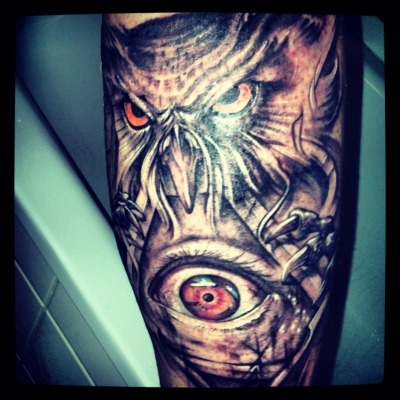Owl with al seeing eye done in Belgium Ghent by Polak on my right calve. Its not finished need 2 more sessions to complete the wings.