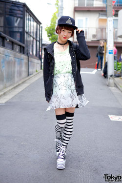 tokyo-fashion:  Japanese model Pochi on the street in Harajuku w/ items from Jouetie & Thrasher.