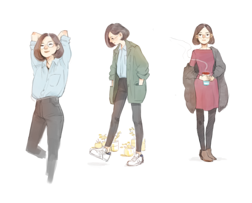 some outfits from this week #while watching veep season 3 #misc art#shopping adventures #artists on tumblr  #today i saw an old man wearing those stan smiths with velcro  #also i feel smug bc i got this american apparel dress without giving any money to AA
