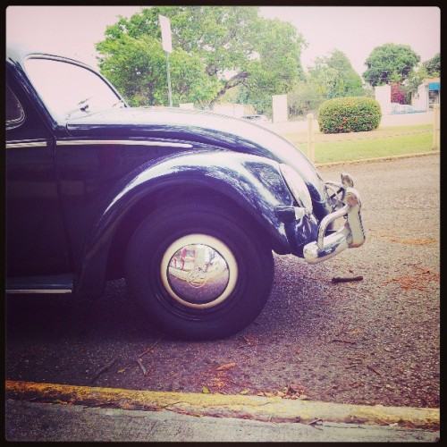 A classic in school's parking lot #VW #Beetle #Vintage #Cars