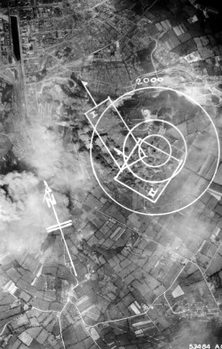 demons:  An aerial photograph of Cherbourg with marked bombing targets