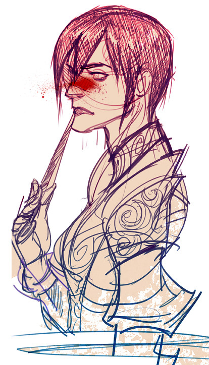 makanidotdot:  quick sketch of my hawke, being a little alice morgany w/ her knife