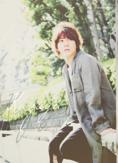 "poonniekameari:  kazuya kun~, are you waiting for someone ? ヾ(*´∀`*)ノ  ""Please take out with full credits"""