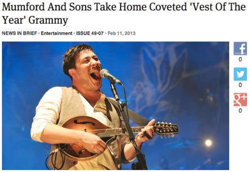 "theonion:  Mumford And Sons Take Home Coveted ""Vest Of The Year"" Grammy: Full Report"