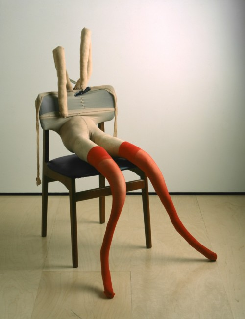 welovepaintings:  Sarah Lucas Bunny Gets Snookered #10 1997 Tan tights, red stockings, chair, steel clamp, kapok and wire 104 x 71 x 89 cm