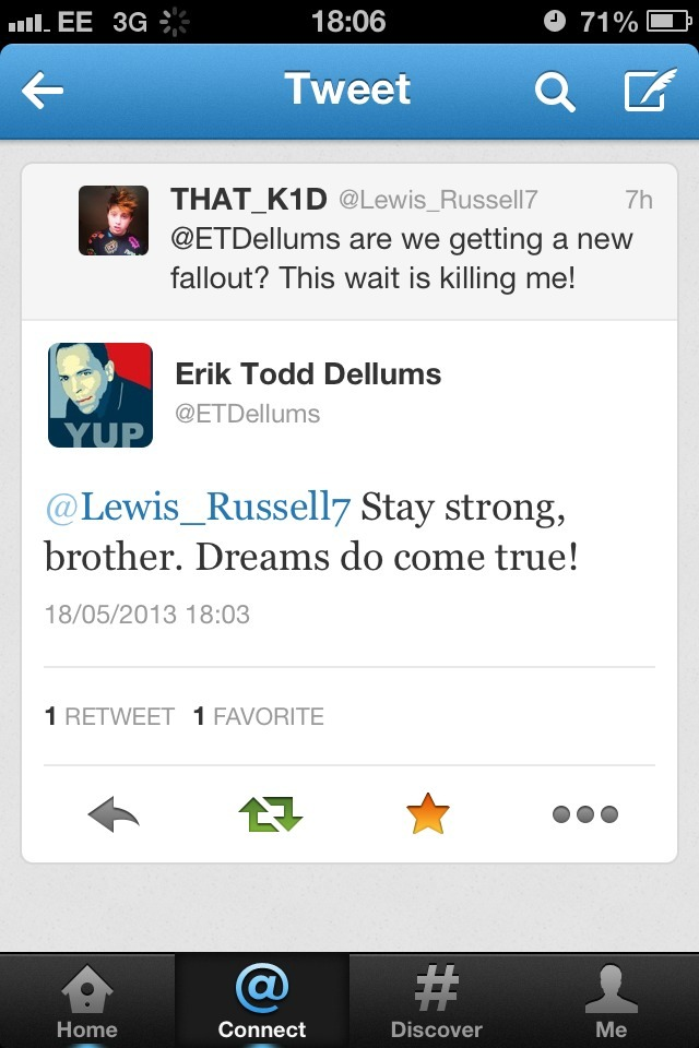 Eric Todd Dellums basically told me there is going to be a new fallout!