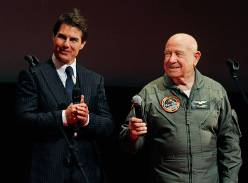 "lightthiscandle:  astrohardware:  touchrussia:  U.S. actor Tom Cruise and Russian cosmonaut Alexei Leonov, the first human to conduct a space walk, take part in a ceremony at the premiere of the new film ""Oblivion"" in Moscow April 1, 2013   Source: Reuters   Alexei just seems like the coolest dude.  I wonder if he started jumping on Alexei's couch."