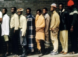 artismyhustle:  SOUTH AFRICA. Valreef gold mine. Newly arrived workers wait in line for medical examination. 1973.  by Eve Arnold