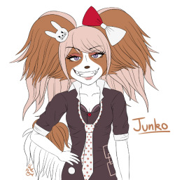 AT LAST here's the flat color of my anthro (papillon) version of Junko Enoshima This will be shaded later. Now on to Naegi!