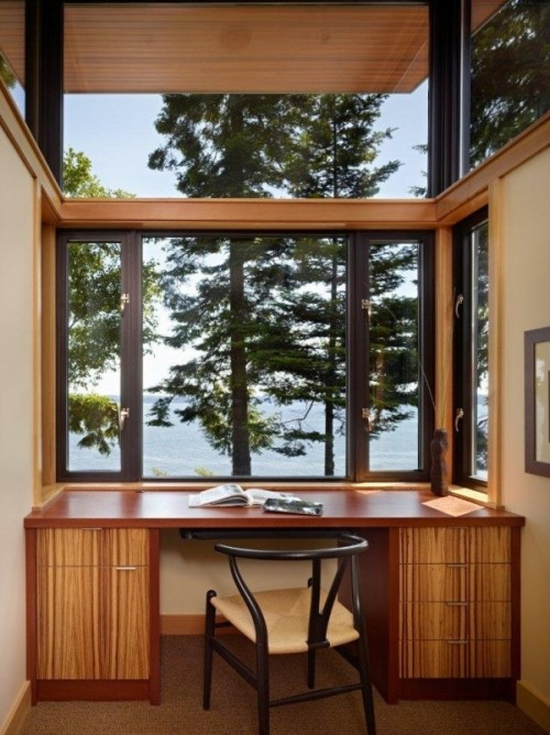 homedesigning:  Workspace With Tree Line Views