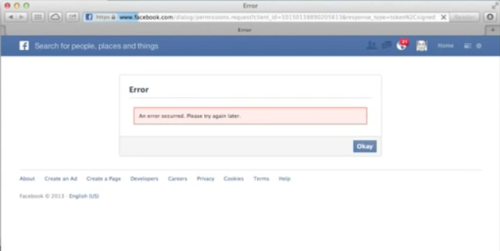Behold The Power Of Facebook! Oops! A Facebook Connect glitch-slash-bug banjaxed some of the world wide web's major players yesterday, redirecting their sites to a Facebook error page. Websites that suffered a wipeout included CNN, NBC News and AOL's Huffington Post. The Verge reported that its sister sites Polygon andSBNation had also taken one for the team. The problem seemed to be for people logging in to other sites via Facebook. Never underestimate the power of Facebook, o beloved firms who allow your users to connect via the Facebook platform. The firm filed a document(.pdf file) for the SEC last week which stated that 50 million pages and 10 million apps are hooked up to the social network.