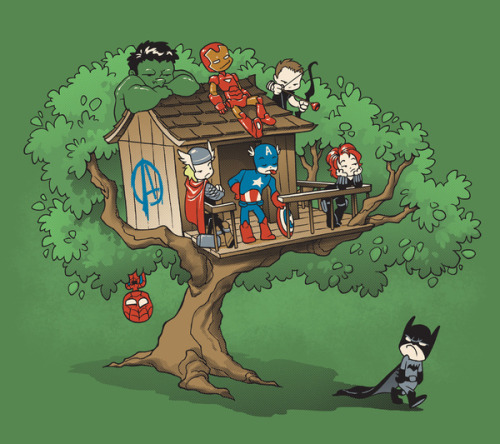"sillystarshine:  ""this tree house is for Avenger members only! Go make your own ""justice league"" somewhere else"""