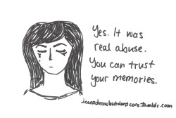 icantdrawbutdontcare:  You're not imagining it, it was real. [Portrait of a crying woman next to black text that says: Yes. It was real abuse. You can trust your memories.]You did not imagine the abuse. It was real. #QueeringTheCloak