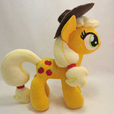 "Applejack! She's for sale HERE until May 21, 2013 21:38:19 PDT. Made of no-pill fleece, felt, and fiberfill. Machine and hand sewn, 14"" tall!"