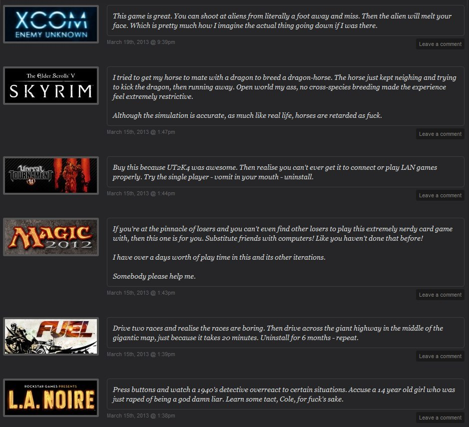 I like how this person reviews games on Steam.