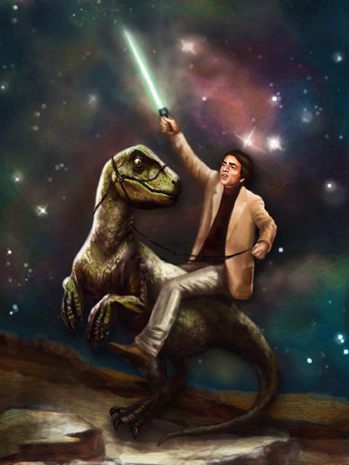 Carl Sagan Riding a Dinosaur  While Wielding A Jedi Lightsaber… Because Fuck Yeah Science