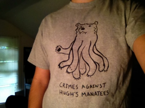 New Crimes Against Hugh's Manatees shirts! They will be available as backer rewards for the upcoming CAHM Vol. 3. Kickstarter campaign.