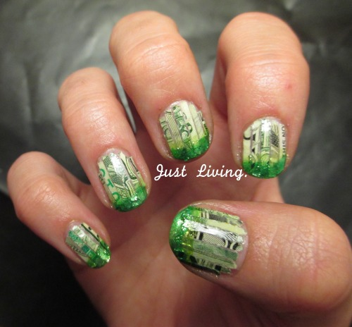 justliving21:  I couldn't wait any longer to post these nails! This is using REAL money. My fiance is in a business club on campus and they occasionally have guest speakers. A little while ago the El Paso Branch Federal Reserve Bank of Dallas came to speak. Then they gave them 4,000$ work of shredded unfit currency. And a huge lightbulb went off in mine and Cynthia's heads…this needed to become a manicure! There are soooo many pieces left so I can be ballin for daaaaayyysssss! haha I hope you all enjoy these as much as I do!